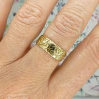 Vintage 9ct Solid Gold Engraved Wedding Band Dated London 1969~ Etched Ring (4 of 11)