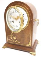 Good Antique French 8-day Arched Top Inlaid Mantel Clock Art Nouveau Mantel Clock (6 of 10)