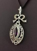 Antique Edwardian Paste Pendant, Sterling Silver (6 of 11)