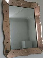 Art Deco Mirror in Peach Glass
