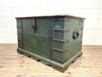 Large Distressed Painted Metal Bound Trunk (8 of 10)