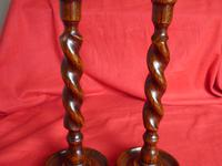 Pair of Wooden Barley Twist Candlesticks (8 of 8)