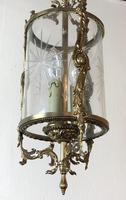 Vintage French Gilt Bronze Three Light Hall Lantern Pendant (10 of 12)