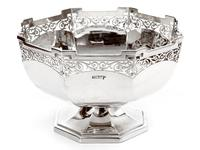 Antique Octagonal Walker & Hall Silver Rose Bowl (2 of 5)