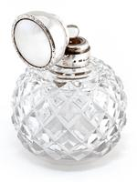 Antique Globe Shaped Cut Glass and Silver Lidded Perfume Bottle (2 of 4)