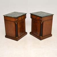Pair of Georgian Style Marble Top Bedside Cabinets c.1930 (10 of 10)
