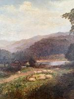 Antique Signed Victorian Landscape Oil Painting of Flock of Sheep (6 of 10)