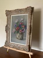 Signed Oil on Canvas Anemones in a Vase (2 of 7)