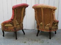 Pair of Antique Fireside Slipper Chairs for re-upholsery (5 of 9)