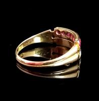 Antique Victorian Ruby, Diamond and Pearl Ring, Double Row, 15ct Gold (7 of 12)