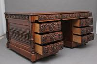 19th Century Carved Oak Partners Desk (17 of 17)