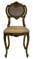 Pair of Antique Carved Giltwood & Cane Rout Chairs (4 of 8)