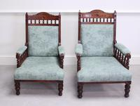 Pair of Victorian Carved Oak 'His & Hers' Easy Chairs (2 of 6)