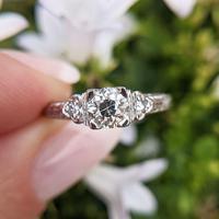 Antique Art Deco Platinum Old Cut Diamond Solitaire Ring, Engagement