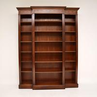 Antique Sheraton Style Inlaid Mahogany Open Bookcase (7 of 11)