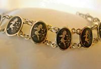 "Vintage Sterling Silver Enamel Bracelet 1960s Goddess of Love 7"" Length 9.1 Grams (7 of 12)"