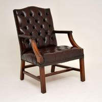 Pair of Antique  Deep  Buttoned Leather Library Armchairs (9 of 12)