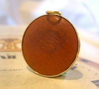Vintage Pocket Watch Chain Compass Fob 1950s Tan Leather & Gilt Drum Case Fob FWO (3 of 9)