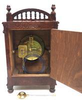 Fine Antique Arts & Crafts Mantel Clock – 8-day Carved Delftware Striking Mantle Clock (7 of 11)