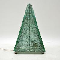 1960's Vintage French Glass Pyramid Table Lamp (5 of 6)