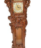 Carved Italian Grandfather Clock Walnut Cherubs (4 of 16)