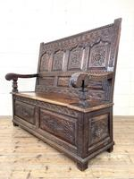 Antique 19th Century Carved Oak Settle (8 of 10)