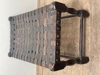 Art Deco Original English Handmade Oak & Leather Strapped Brass Studded Footstool (15 of 22)