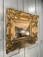 Antique Victorian Landscape Oil Painting in Ornate Gesso Frame (7 of 10)