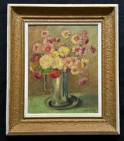 Lovely Original Early 20thc French Impressionist Still Life Floral Oil Painting