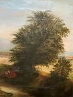 19thc British School - Travellers at Rest - Stunning Landscape Oil Painting (9 of 12)