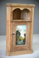 Rustic Pine Corner Cupboard Handpainted Fishing Scene (2 of 12)
