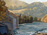"""Des Armour """" Welsh River """" Modern British Oil on Board- 1970's (4 of 6)"""