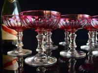 12 Cranberry Champagne Glasses in the style of Baccarat 1900-1920 (2 of 6)