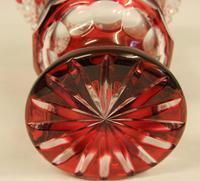 Lovely Heavy Ruby Cut Glass Vase (4 of 4)