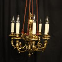 French 19th Century Gilded Bronze 8 Light Antique Chandelier (2 of 10)