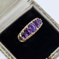 Vintage Amethyst and Diamond Chunky Scroll Five Stone 9ct 9K Yellow Gold Ring Band (2 of 10)