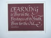 Leo Wyatt woodblock calligraphic print, 20 of 75, quote from Aeschylus, c1970 (4 of 4)