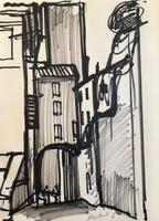 Original black marker pen painting 'Astreet scene in Perugia Aug 1956' by Toby Horne Shepherd 1909-1993. Signed. 1956.