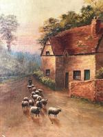 Victorian Oil Painting Shepherd & Flock Of Sheep Circa 1891 (2 of 13)