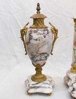 Antique Mantle Clock Set Garniture French Empire Urns (9 of 27)