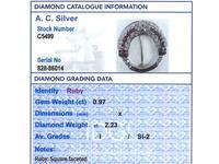 0.97ct Ruby & 2.23ct Diamond, 14ct White Gold Brooch - Art Deco c.1930 (8 of 9)