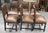 1940s Set of 6 Oak Dining Chairs with Brown Leather Seats (3 of 3)