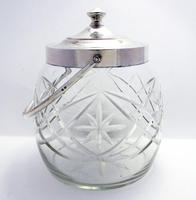 Hallmarked 1927 Solid Sterling Silver Mounted & Cut Glass Biscuit Barrel Cookie Jar Box Container (3 of 9)