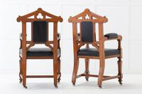 Late 19th Century Pair of Gothic Oak Armchairs (10 of 10)