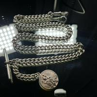 Beautiful Solid Silver Henry Allday Double Link Albert Chain & T BAR (2 of 12)