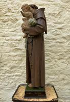 Exceptional Early 1900's Signed 39'' Carved Sculpture Statue St Anthony & Jesus (5 of 18)