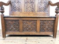 Victorian Carved Oak Settle or Hall Bench (2 of 16)