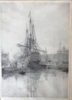 'HMS Victory in Dry Dock' Etching by W.L.Wyllie RA c.1920 (2 of 2)