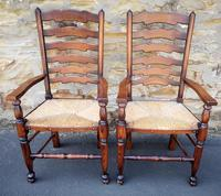 Set of 12 Oak Ladder Back Dining Chairs - Royal Oak Furniture (8 of 15)
