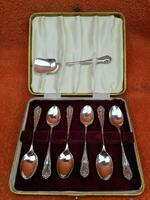 Vintage Sterling Silver Hallmarked Cased Tea Spoons & Shovel 1959 J B Chatterley & Sons Ltd